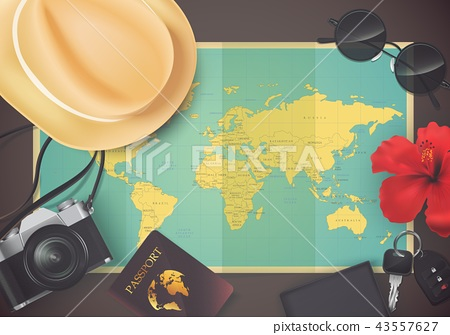 Top view on travel and tourism concept template 43557627