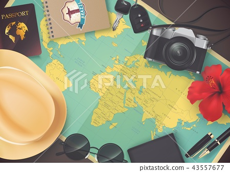 Top view on travel and vacations concept over wood 43557677