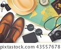 Top view on travel and vacations concept over wood 43557678