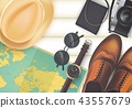 Top view on travel and vacations concept over wood 43557679