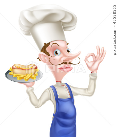 Cartoon Hotdog Chef Perfect SIgn 43558555