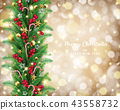 Christmas garland in golden bokeh background 43558732
