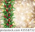 Christmas garland in golden bokeh background 43558732