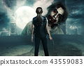 Woman with pistol standing in front of big zombie 43559083