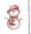 Snowman in hat and scarf. 43560753