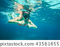 Young woman snorkel, holding two thumbs up,  43561655