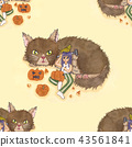 Girl Carving Pumpkin with Cat and Bird Background 43561841