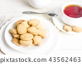 Sugar shortbread cookies in white plate with tea 43562463