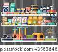 Pet shop or store showcase with animal food 43563646