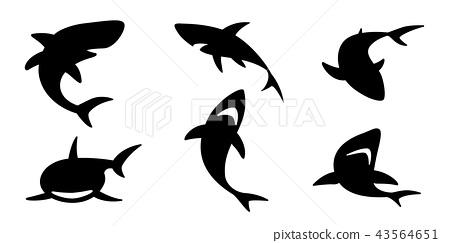 shark vector icon logo dolphin whale character 43564651