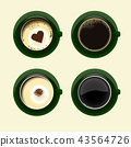 Four cups of coffee with americano latte espresso  43564726