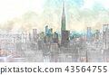 Sketch of the Manhattan skyline cityscape 43564755