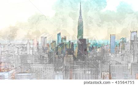 Sketch of the Manhattan skyline cityscape 43564755