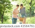 자전거, 커플, 연인, 공원, 스마트폰 43564761