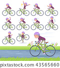 flat type Purple clothes grandmother_road bike 43565660