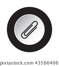 round black, white icon - paper clip, paperclip 43566406