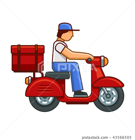 Men on Bike Deliver Package Icon. Vector 43566505