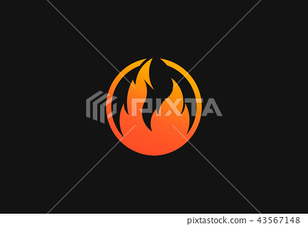 Fire flame with negative space. Vector Logo Symbol 43567148