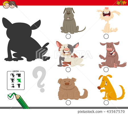 shadows game with cartoon dog characters 43567570