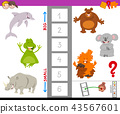 educational game with large and small animals 43567601