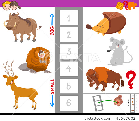 educational task with large and small animals - Stock Illustration ...