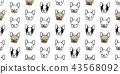Dog seamless pattern french bulldog vector pug 43568092