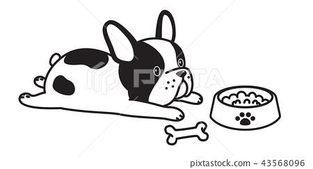 dog vector french bulldog cartoon character bone 43568096