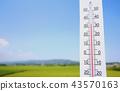 여름의 외부 온도 온도계 43570163
