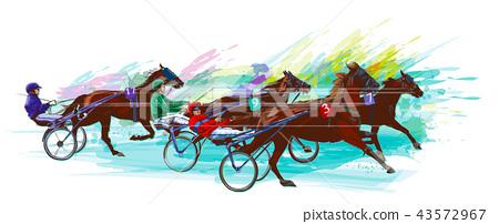 Jockey and horse.Sulky racing 43572967