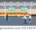 Business people in modern train station platform 43574076