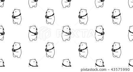 Bear seamless pattern vector polar bear isolated 43575990