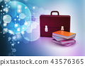 leather briefcase and books 43576365