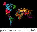 map, world, typography 43577623