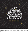 Merry Christmas, happy new year, logo 43578309
