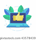 Modern laptop with Gold thumb up sign on screen. 43578439