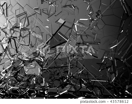Pieces of glass shattered or cracked on black 43578612