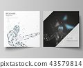 Minimal vector illustration of editable layout of two square format covers design templates for 43579814