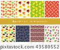 가을, 일본풍 무늬, 패턴 43580552
