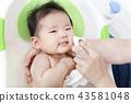 手冊解釋如何在新生嬰兒洗澡和洗澡,如何在洗滌和洗滌後擦拭,完成 43581048