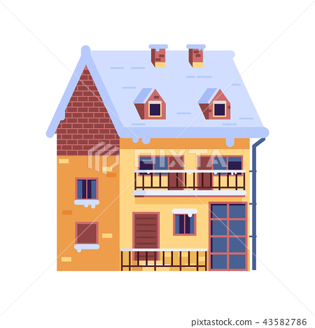 Winter Rural House with Chimney wintertime 43582786