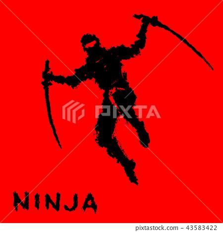 Ninja with sword attacks in a jump. Vector 43583422