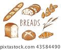 빵 그린 수채화 풍 43584490