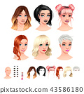 Avatars.6 hairstyles, 6 make-up, 6 mouths, 1 head. 43586180