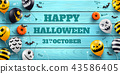 Halloween background with Halloween Ghost Balloons 43586405
