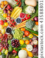 Summer fruits vegetables on table 43588801