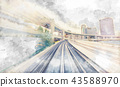 POV sketch of a train line moving through the city 43588970