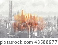 Sketch of the Manhattan skyline cityscape 43588977