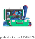 Winter Travel Suitcase Full of Things 43589076