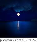 full moon in clouds over water 43589152