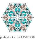 Creative layout of jewelry. The mandala is made of different gemstones on white 43590930